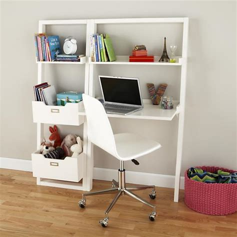white kid desk desk white leaning wall desk the land of nod