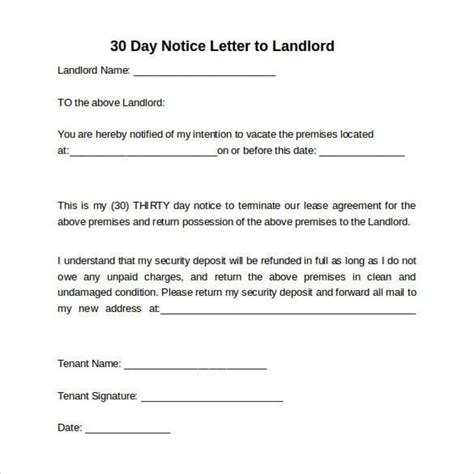 Employment Letter To Landlord Well 30 Day Notice Letter Letter Format Writing