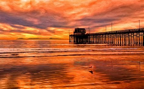 Summer Duvet Cover Sunset At The Newport Beach Pier Painting By Michael Pickett