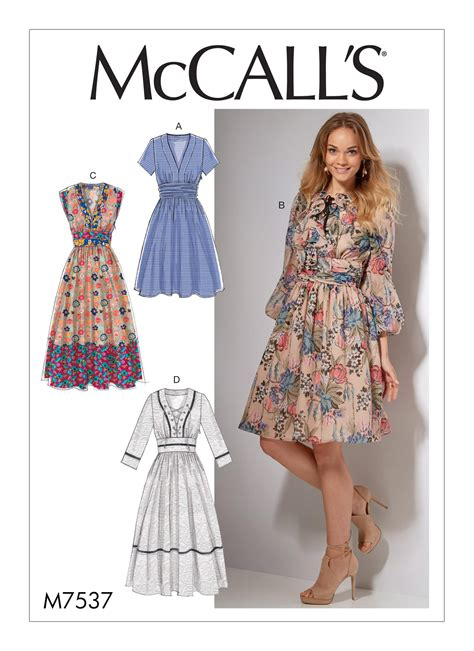 sewing patterns mccall s 7537 misses banded gathered waist dresses