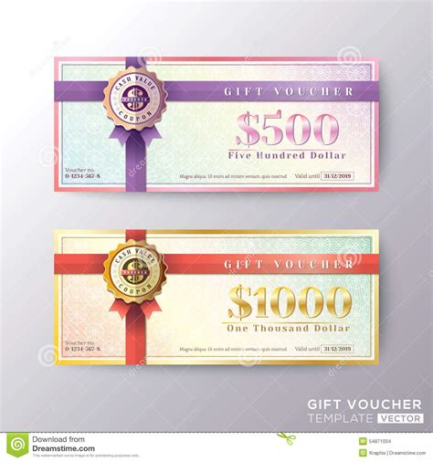 coupon card template gift certificate voucher coupon card template stock vector