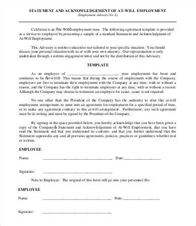 Employment Agreement Template 9 Free Sle Exle Format Free Premium Templates At Will Employment Contract Template