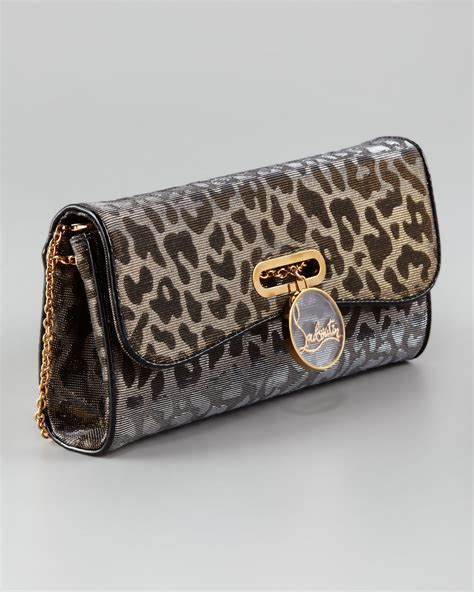 Clutch Animal christian louboutin riviera lame clutch in animal gold silver542 lyst