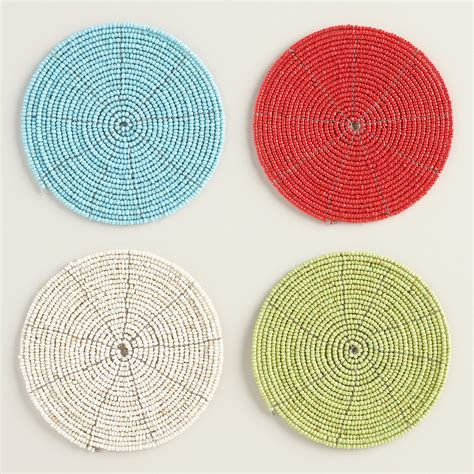 beaded coasters beaded coasters set of 6 world market