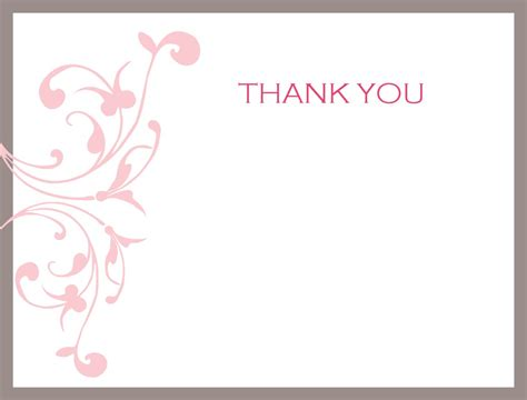 thank you note templates pink wedding thank you card