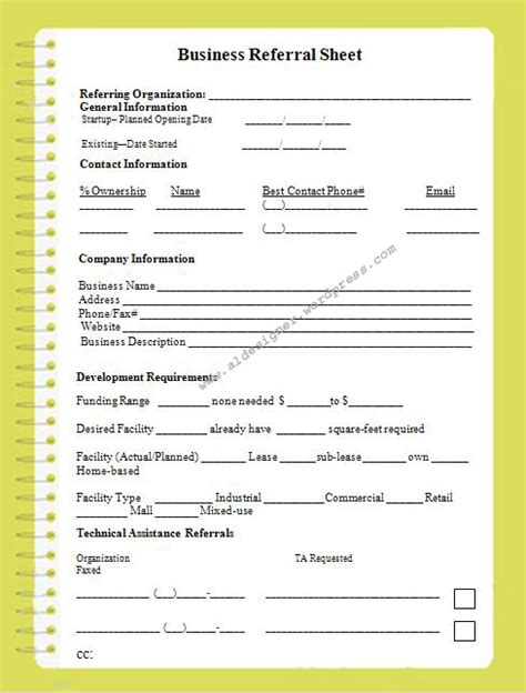referral sheet template graphics and templates