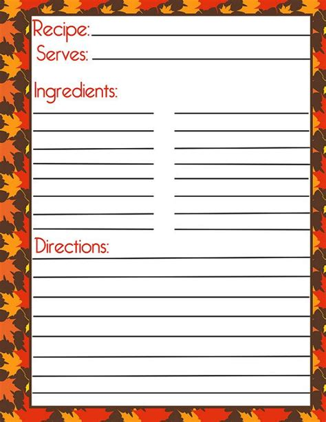 free printable thanksgiving recipe cards autumn recipe card and filler page by pumpkin beans