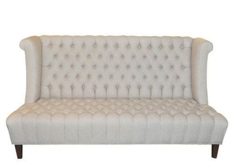 high back tufted sofa crafted tufted high back linen upholstered sofa by