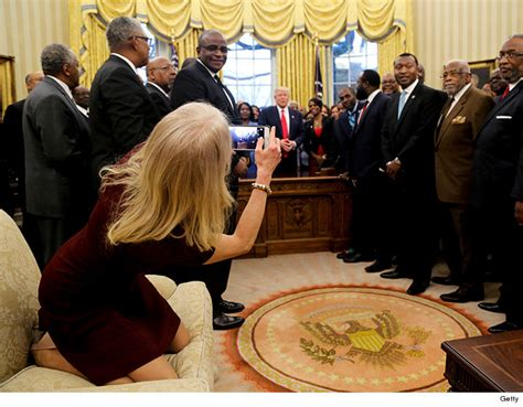 kelly couch kellyanne conway kneels on oval office couch for trump s