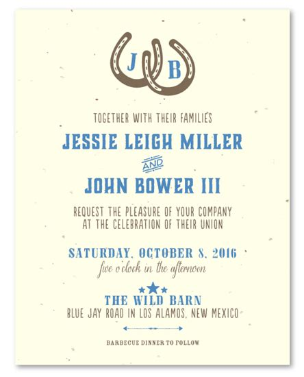 Western Wedding Invitation Paper by Western Wedding Invitations On Seeded Paper West By