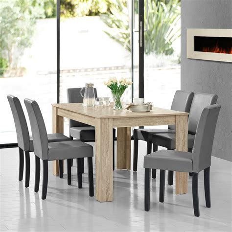 Limed Oak Dining Tables En Casa Dining Table Limed Oak With 6 Chairs Light Grey 140x90 Table Chairs Ebay