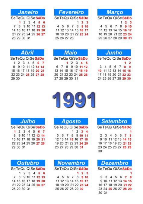 Calendario De 1991 Calend 225 1991 Para Imprimir E Em Pdf Abc