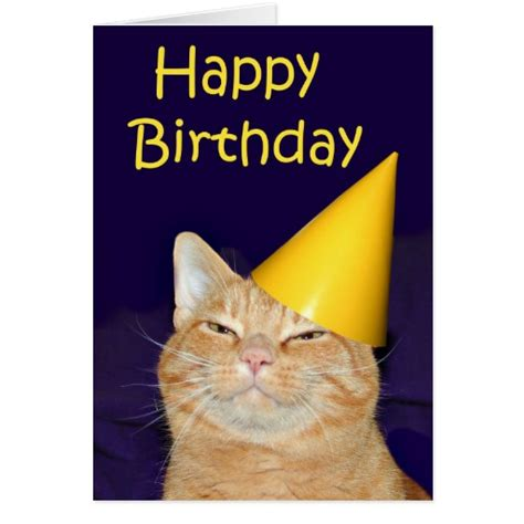 Happy Birthday Cat Card Happy Cat Happy Birthday Greeting Card Zazzle