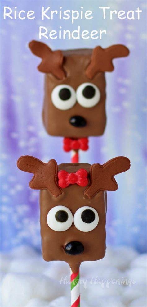chocolate rice krispie treat reindeer pops hungry happenings