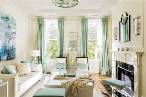 sea green living room elements of a contemporary interior in a traditional brownstone