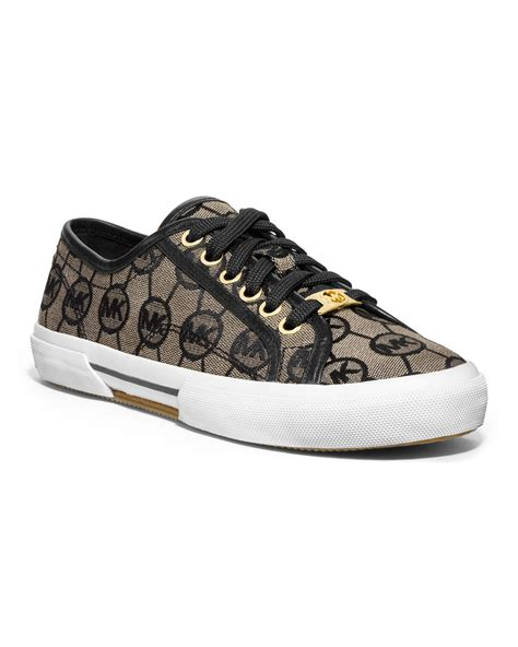 black michael kors sneakers michael kors monogram canvas sneaker in black beige black