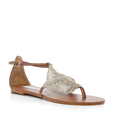 gold sandals steve madden steve madden shineyy diamante toe flat sandals in