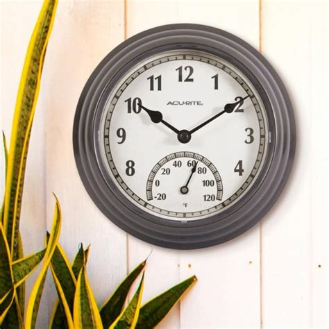 8 5 inch gunmetal gray outdoor clock with thermometer