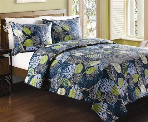 Navy Blue King Quilt 4pc Navy Blue Green Tropical Leaf Design 100 Cotton Quilt