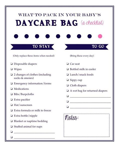 daycare cleaning checklist templates what to pack in your baby s daycare bag a free printable