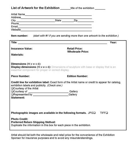 Harriete Estel Berman Exhibition Contract For The Arts And Crafts Community Wholesale Policy Template