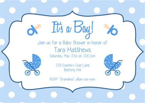 Baby Shower Invitation Templates For Boys