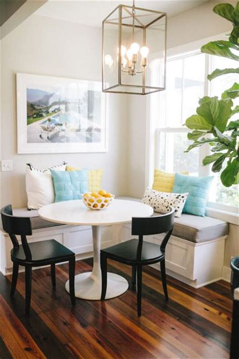round table banquette round table and corner banquette dining area bright pillows home sweet home