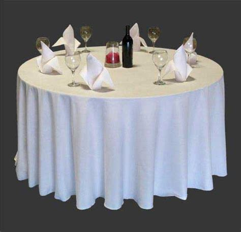 plain polyester hotel table linen circular white and