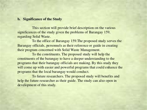Significance Of The Study In Research Paper Exle by Waste Management Research City Of Pasay Bpg