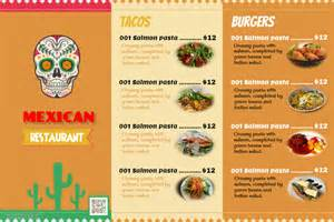 food menu templates mexican food menu templates with photo placeholders