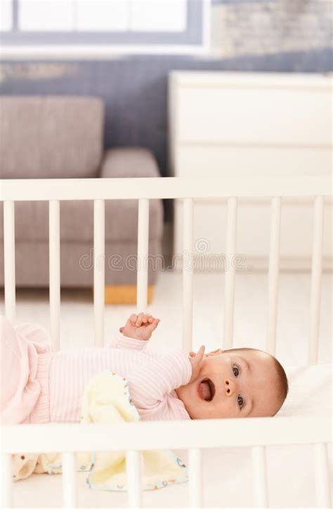 Cute Baby Girl In Crib Stock Photo Image Of Female How To Get A Free Baby Crib