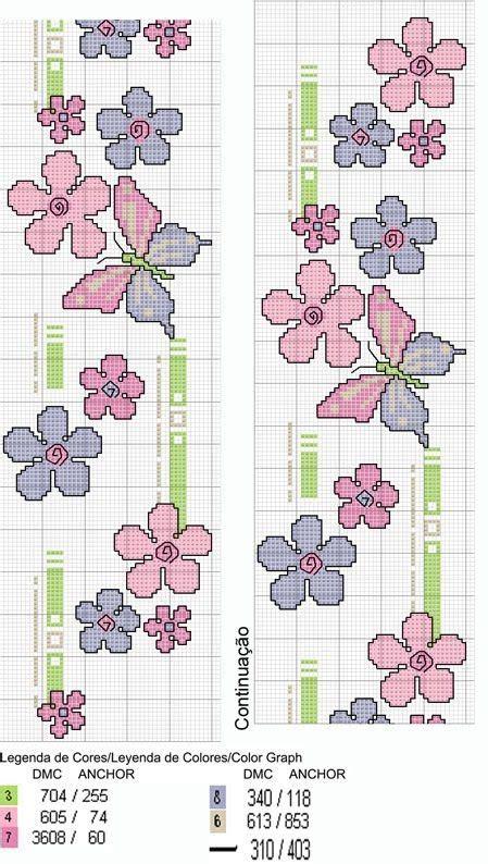 schemi punto croce farfalle e fiori bordo fiori e farfalle a punto croce punto de