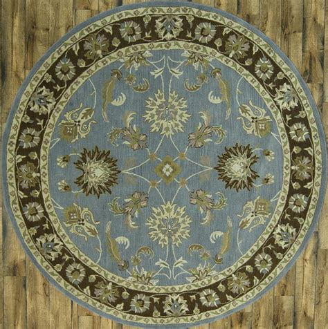 7x7 Area Rugs Tufted Of Light Blue 7x7 Oushak Area