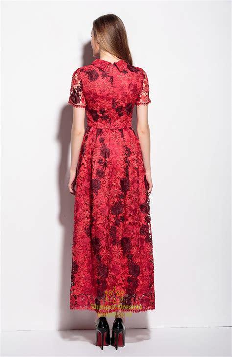 Applique A Line Dress lace applique high neck floor length a line dress