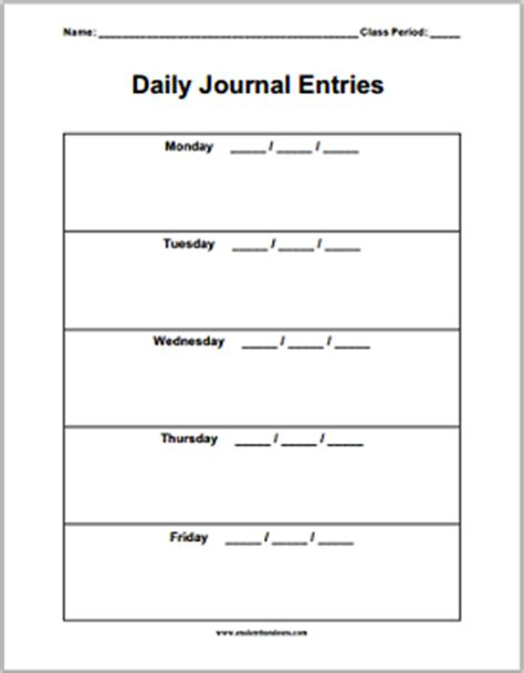 bellwork template daily journal sheets student handouts