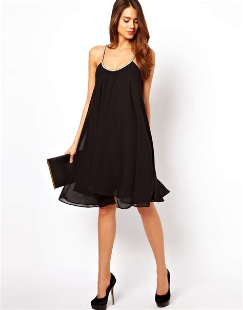 cami swing dress asos cami swing dress with embellished straps in black lyst