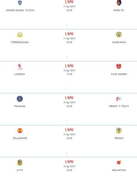 keputusan terkini jdt vs felda united liga super 3 mei 2015 terengganu vs sarawak 11 april 2014