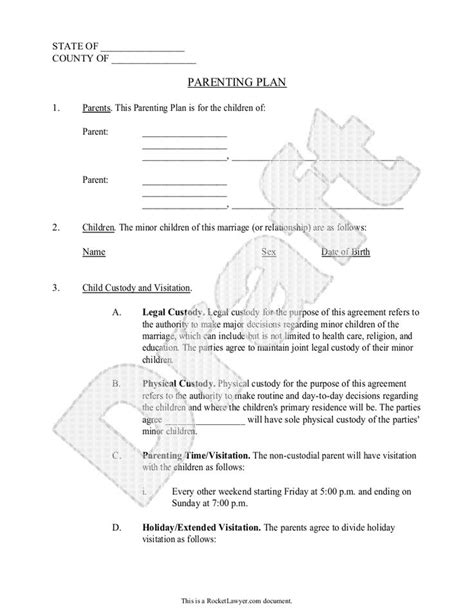 Parenting Plan Child Custody Agreement Template With Sle Parental Agreement Contract Out Of Court Child Support Agreement Template