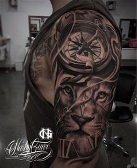 compass lion tattoo wow half sleeve tattoo for men lion clock idea by juncha