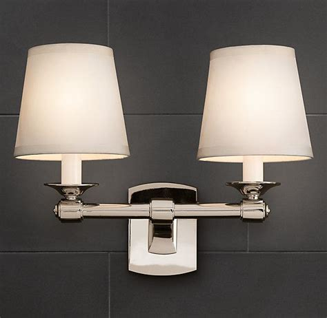bathroom lighting restoration hardware caign double sconce bath sconces restoration hardware