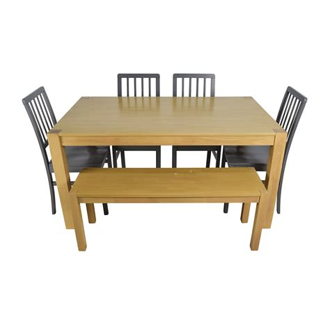 wooden bench seat 48 off wooden dinner set with bench seat tables