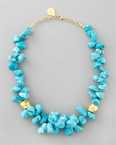 beaded necklace leigh turquoise cluster beaded necklace in blue lyst