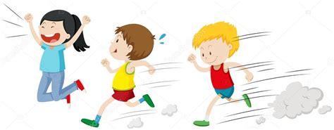imagenes niños corriendo dos ni 241 os corriendo en una carrera vector de stock