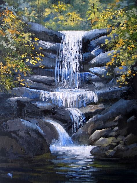 acrylic painting waterfalls nel s everyday painting 1 31 16 2 7 16