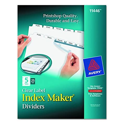Avery Print Apply Clear Label Dividers Index Maker Easy Apply Printable Label Strip 5 White Avery Clear Label Dividers 5 Tab Template 11446