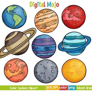 planets clipart solar system and planet clipart by digital mojo tpt