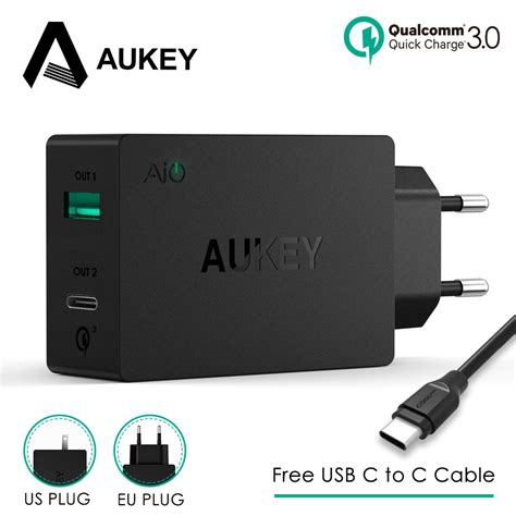 Charging Dock Usb 31 Type C Smartphone Black aukey 2 in 1 usb charger type c phone charger usb universal wall charger adapter travel
