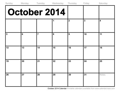 printable calendar 2014 october november december 6 best images of 2014 october monthly calendar printable