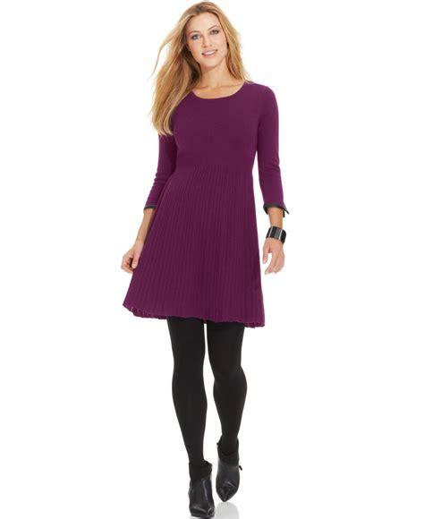 spense pleather trim pleated a line sweater dress