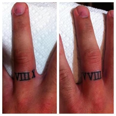 roman numerals for a wedding ring tattoo ink